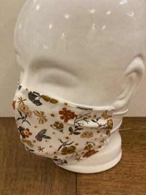 Dame mondmasker wit bruin bloem