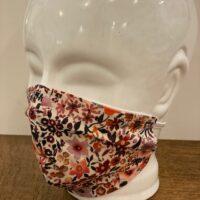 Dames mondmasker bruin oranje bloem